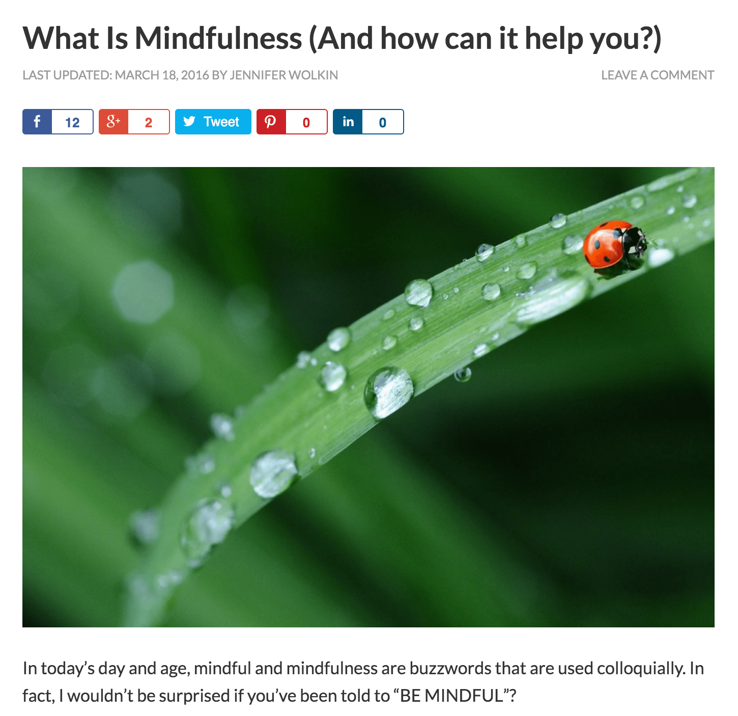 Repost: What Is Mindfulness (And how can it help you?)