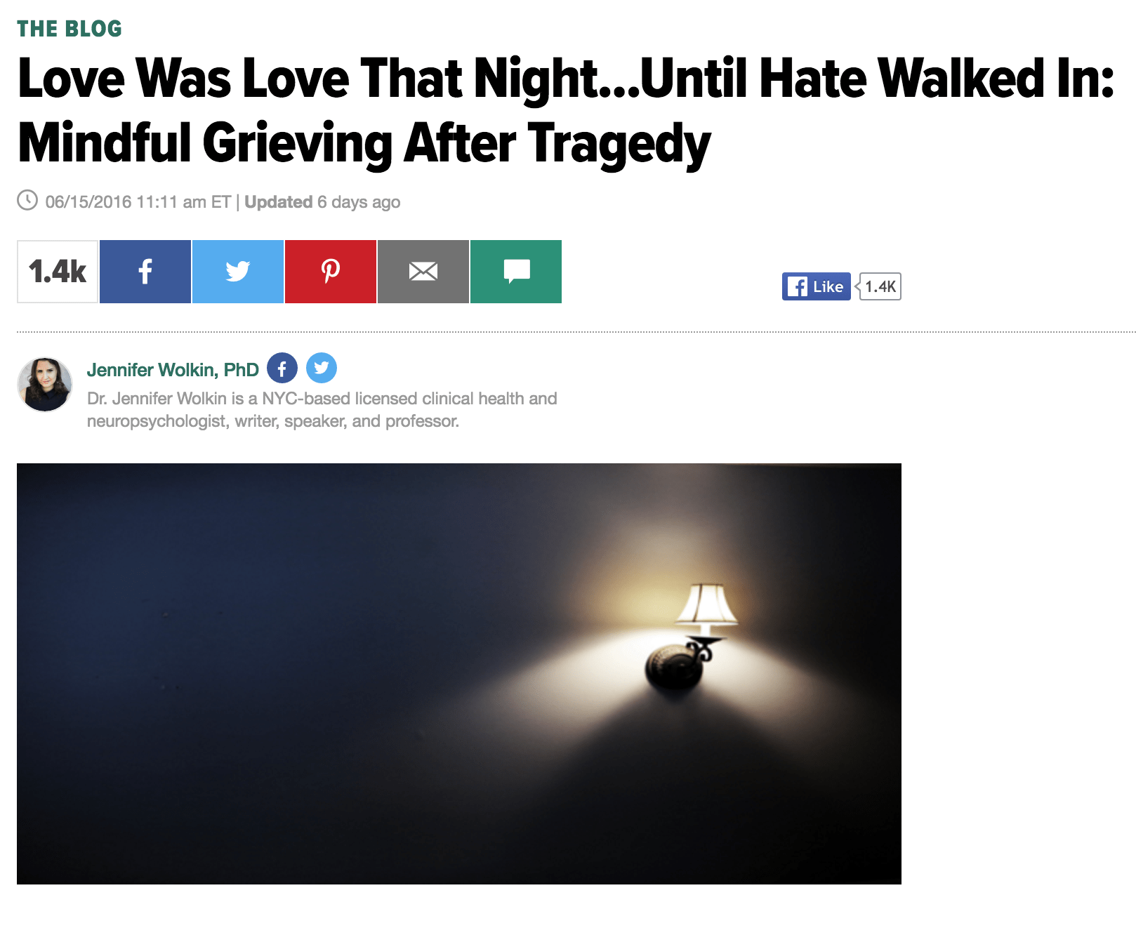 Repost: Love Was Love That Night…Until Hate Walked In: Mindful Grieving After Tragedy