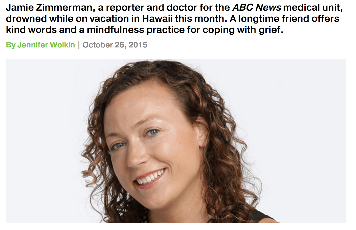 Remembering Jamie Zimmerman, ABC's Meditation Doctor